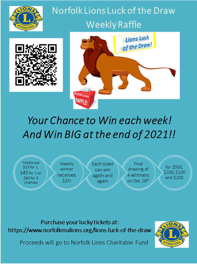 Purchase your lucky tickets at https://www.norfolkmalions.org/lions-luck-of-the-draw